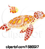 Swimming Fish Over A Sea Turtle
