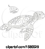 Lineart Swimming Fish And Sea Turtle