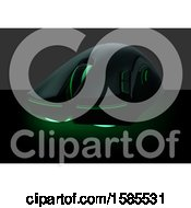 Clipart Of A Computer Mouse With Green Lights Royalty Free Vector Illustration