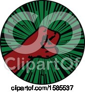 Clipart Of A Vintage Styled Red Fisted Hand On A Green Burst Royalty Free Vector Illustration