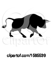 Silhouetted Black Bull Charging With A Shadow On A White Background