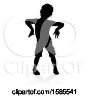 Silhouetted Boy Playing With A Reflection Or Shadow On A White Background