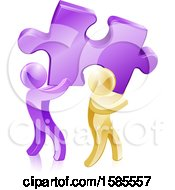 Clipart Of 3d Purple And Gold Men Carrying A Large Solution Puzzle Piece Royalty Free Vector Illustration