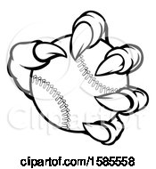Poster, Art Print Of Black And White Monster Claw Holding A Baseball