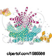 Clipart Of A Group Of Reef Sea Creatures Royalty Free Vector Illustration