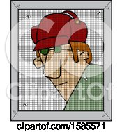 Cartoon Man Behind A Screen