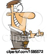 Clipart Of A Cartoon Business Man Giving Two Thumbs Up Royalty Free Vector Illustration