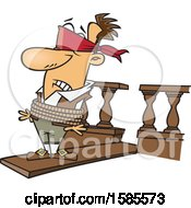 Clipart Of A Cartoon White Man Walking A Plank Royalty Free Vector Illustration
