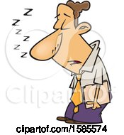 Clipart Of A Cartoon Sleep Deprived Business Man Sleeping Standing Up Royalty Free Vector Illustration