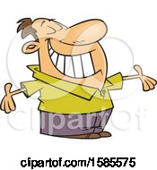 Clipart Of A Cartoon White Man Grinning And Holding His Arms Wide Open Royalty Free Vector Illustration