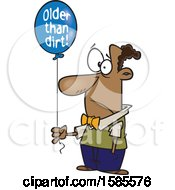 Clipart Of A Cartoon Black Man Holding An Older Than Dirt Birthday Balloon Royalty Free Vector Illustration