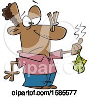 Clipart Of A Cartoon Black Man Holding A Stinky Fish Royalty Free Vector Illustration