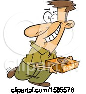 Clipart Of A Cartoon White Man Hoarding Donuts Royalty Free Vector Illustration