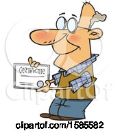 Clipart Of A Cartoon Proud White Senior Man Holding A Certificate Royalty Free Vector Illustration