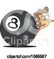 Clipart Of A Cartoon White Woman Behind The Eightball Royalty Free Vector Illustration