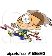 Clipart Of A Cartoon Competitive Athletic White Boy Wearing Medals And Running Royalty Free Vector Illustration