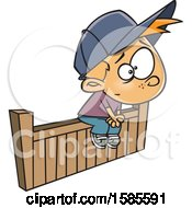 Clipart Of A Cartoon White Boy Sitting On The Fence Royalty Free Vector Illustration