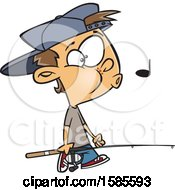 Clipart Of A Cartoon White Boy Whistling And Carrying A Fishing Pole Royalty Free Vector Illustration