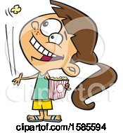 Clipart Of A Cartoon White Girl Tossing A Piece Of Popcorn Into Her Mouth Royalty Free Vector Illustration