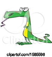 Clipart Of A Cartoon Skeptical Dinosaur Or Lizard Royalty Free Vector Illustration