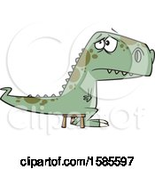 Clipart Of A Cartoon Bad Dinosaur Sitting On A Time Out Stool Royalty Free Vector Illustration