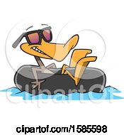 Clipart Of A Cartoon Summer Time Duck Wearing Sunglasses And Floating In An Inner Tube Royalty Free Vector Illustration