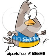 Clipart Of A Cartoon Jogging Bird Wearing A Born To Run Shirt Royalty Free Vector Illustration