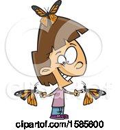 Poster, Art Print Of Cartoon White Girl With Butterflies