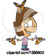 Cartoon White Girl With Butterflies