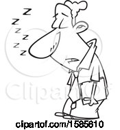Clipart Of A Cartoon Line Art Sleep Deprived Business Man Sleeping Standing Up Royalty Free Vector Illustration