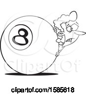Cartoon Outline Woman Behind The Eightball