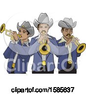 Clipart Of A Mexican Norteno Band Royalty Free Vector Illustration
