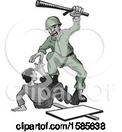 Clipart Of A Soldier Abusing A Protesting Civilian Royalty Free Vector Illustration