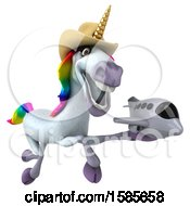 Clipart Of A 3d Cowboy Unicorn Holding A Plane On A White Background Royalty Free Illustration