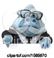 Clipart Of A 3d White Business Monkey Yeti Holding A Thumb Down On A White Background Royalty Free Illustration