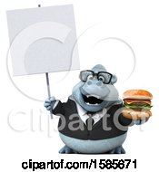 Poster, Art Print Of 3d White Business Monkey Yeti Holding A Burger On A White Background