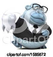 Clipart Of A 3d White Business Monkey Yeti Holding A Tooth On A White Background Royalty Free Illustration