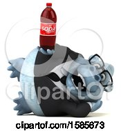 Clipart Of A 3d White Business Monkey Yeti Holding A Soda On A White Background Royalty Free Illustration