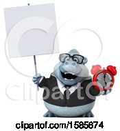 Poster, Art Print Of 3d White Business Monkey Yeti Holding An Alarm Clock On A White Background