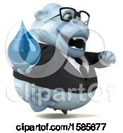 Clipart Of A 3d White Business Monkey Yeti Holding A Water Drop On A White Background Royalty Free Illustration
