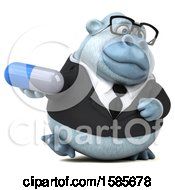 Poster, Art Print Of 3d White Business Monkey Yeti Holding A Pill On A White Background