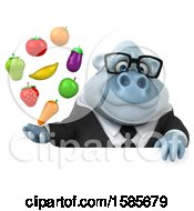 Poster, Art Print Of 3d White Business Monkey Yeti Holding Produce On A White Background