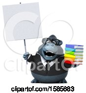 Clipart Of A 3d Business Gorilla Holding Books On A White Background Royalty Free Illustration by Julos
