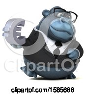 Clipart Of A 3d Business Gorilla Holding A Euro Symbol On A White Background Royalty Free Illustration by Julos