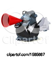 Clipart Of A 3d Business Gorilla Holding A House On A White Background Royalty Free Illustration by Julos