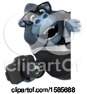 Clipart Of A 3d Business Gorilla Holding A Camera On A White Background Royalty Free Illustration by Julos