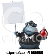 Clipart Of A 3d Business Gorilla Holding A Blood Drop On A White Background Royalty Free Illustration