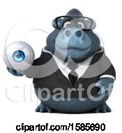 Clipart Of A 3d Business Gorilla Holding An Eyeball On A White Background Royalty Free Illustration by Julos