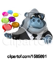 Clipart Of A 3d Business Gorilla Holding Messages On A White Background Royalty Free Illustration by Julos