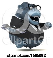 Clipart Of A 3d Business Gorilla Holding A Wrench On A White Background Royalty Free Illustration by Julos